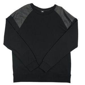 New H&M Faux Leather Crewneck Sweatshirt
